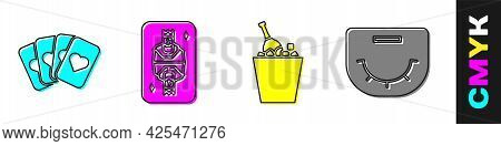 Set Deck Of Playing Cards, King Playing Card With Diamonds, Champagne In An Ice Bucket And Poker Tab