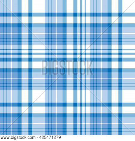 Seamless Pattern In Blue And White Colors For Plaid, Fabric, Textile, Clothes, Tablecloth And Other