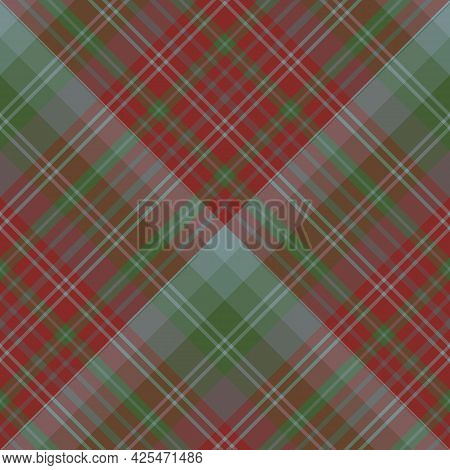 Seamless Pattern In Dark Discreet Red, Green And Gray Colors For Plaid, Fabric, Textile, Clothes, Ta