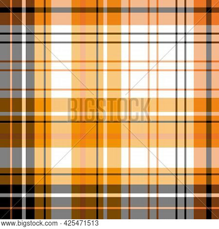 Seamless Pattern In Black, Orange And White Colors For Plaid, Fabric, Textile, Clothes, Tablecloth A