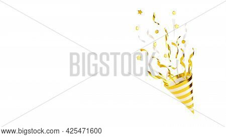 Gold Party Popper With Flying Confetti 3d Render Illustration Isolated On White.