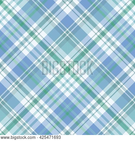 Seamless Pattern In Discreet Blue And Green Colors For Plaid, Fabric, Textile, Clothes, Tablecloth A