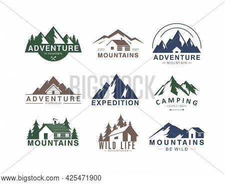 Mountain Logo Flat Vector Illustration Set Of Rocky Mountain Top Peaks, Camping Outdoor Adventure Ex