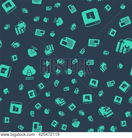 Set File Document, Missing, Cloud Computing Lock And Network Cloud Connection On Seamless Pattern. V