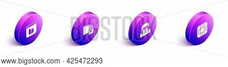 Set Isometric File Missing, Folder And Lock, Hangar With Servers And Processor Cpu Icon. Vector