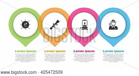 Set Sun, Sniper Optical Sight, Camping Lantern And Hunter. Business Infographic Template. Vector