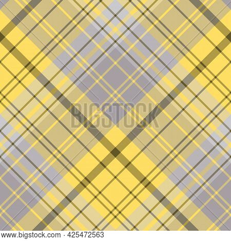 Seamless Pattern In Creative Yellow And Gray Colors For Plaid, Fabric, Textile, Clothes, Tablecloth