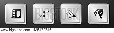 Set Matchbox And Matches, Swiss Army Knife, Fishing Rod And Bandana Or Biker Scarf Icon. Silver Squa