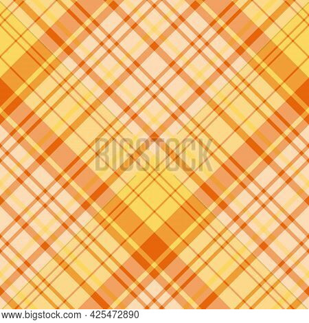 Seamless Pattern In Orange And Yellow Colors For Plaid, Fabric, Textile, Clothes, Tablecloth And Oth