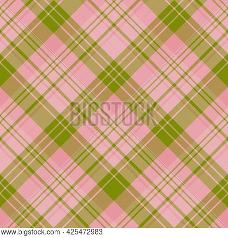 Seamless Pattern In Pink And Green Colors For Plaid, Fabric, Textile, Clothes, Tablecloth And Other