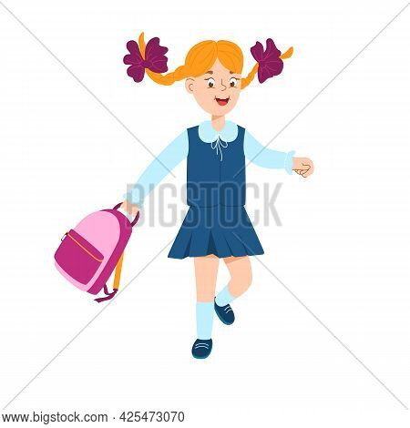 A Cheerful Schoolgirl Runs With A School Bag In Her Hands. Hair Is Braided In Pigtails. Burgundy Bow