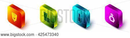 Set Isometric Epilator, Cream Lotion Cosmetic Tube, Lipstick And Perfume Icon. Vector