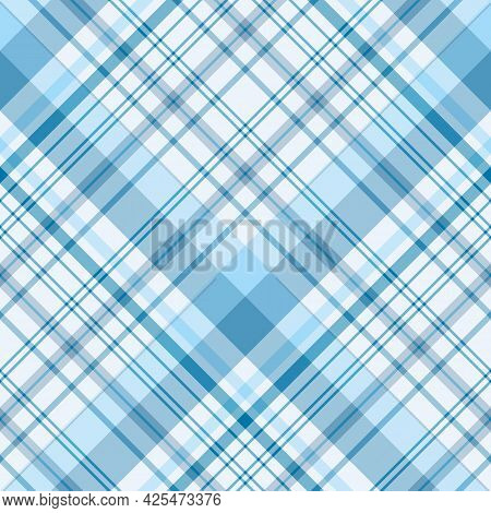 Seamless Pattern In Cozy Blue Colors For Plaid, Fabric, Textile, Clothes, Tablecloth And Other Thing