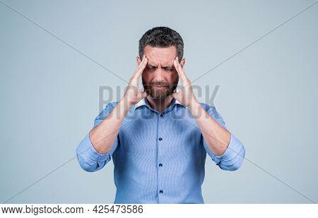 Headache Attack. Businessman Suffer From Headache. Suffering From Migraine Pain. Head Ache
