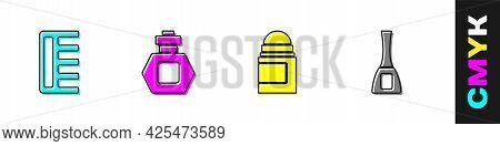 Set Hairbrush, Perfume, Antiperspirant Deodorant Roll And Nail Polish Bottle Icon. Vector