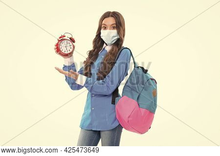 Promotional Timeline. Kid In Mask Hold Clock And Open Hand. Promotional Covid-19 Products