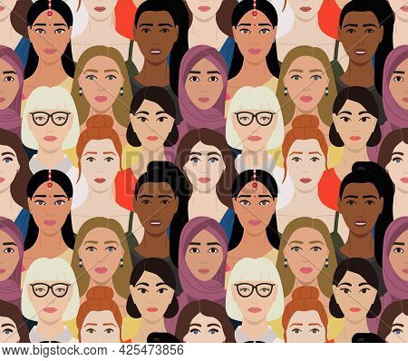 Seamless Pattern Of Female Multinational Diverse Faces. International Womens Day Pattern. Female Emp