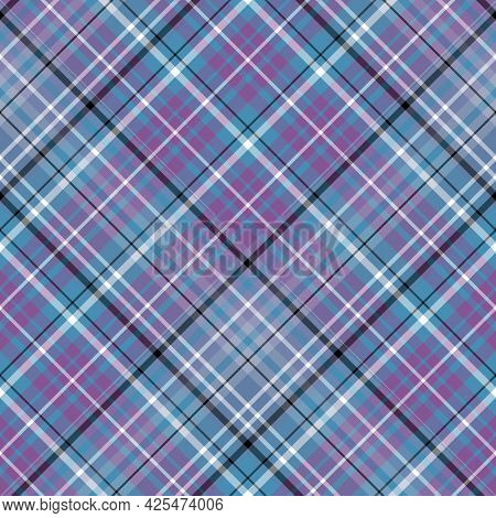 Seamless Pattern In Violet, Blue, Black And White Colors For Plaid, Fabric, Textile, Clothes, Tablec