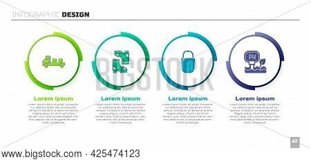Set Pickup Truck, Waterproof Rubber Boot, Bucket And Soil Ph Testing. Business Infographic Template.