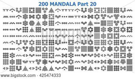 Various Mandala Collections 200 Ethnic Mandala Line Pattern Set Doodles Freehand