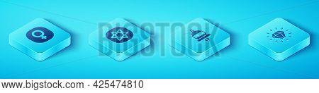 Set Isometric Venus, Tarot Cards, Diamond And Ringing Alarm Bell Icon. Vector