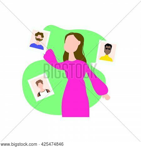 Illustration Design Girl Search Boyfriend Isolated On White Background