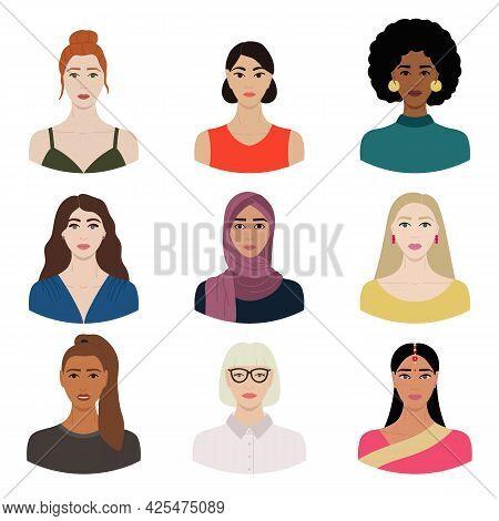 Set Of Diverse Female Faces With Different Ethnics, Skin Colors, Hairstyles. Collection Of Portraits