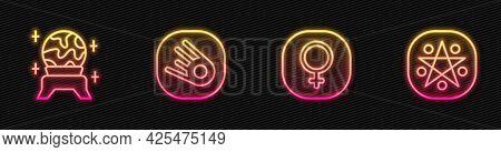 Set Line Venus, Magic Ball, Comet Falling Down Fast And Pentagram Circle. Glowing Neon Icon. Vector