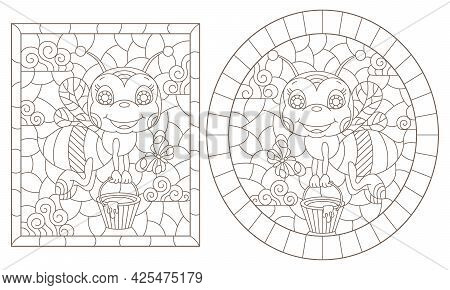 A Set Of Contour Illustrations In The Style Of A Stained Glass Window With Cartoon Bees, Dark Contou