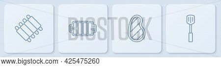 Set Line Grilled Pork Bbq Ribs, Steak Meat, Barbecue Grill And Spatula. White Square Button. Vector