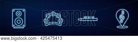 Set Line Drum And Drum Sticks, Stereo Speaker, Tambourine And Treble Clef. Glowing Neon Icon On Bric