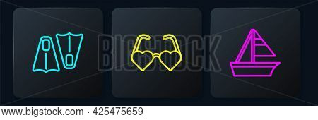 Set Line Rubber Flippers For Swimming, Yacht Sailboat And Heart Shaped Love Glasses. Black Square Bu