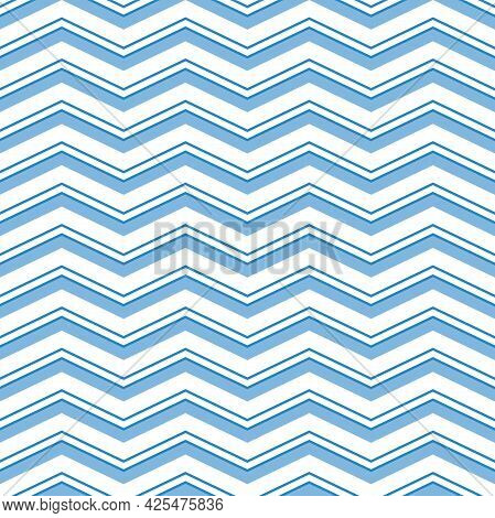Seamless Vector Ornament. Modern Background. Geometric Modern Pattern With Blue Zigzags