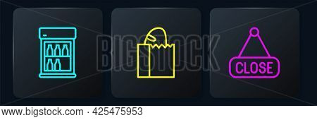 Set Line Commercial Refrigerator, Hanging Sign With Closed And Paper Bag Bread Loaf. Black Square Bu