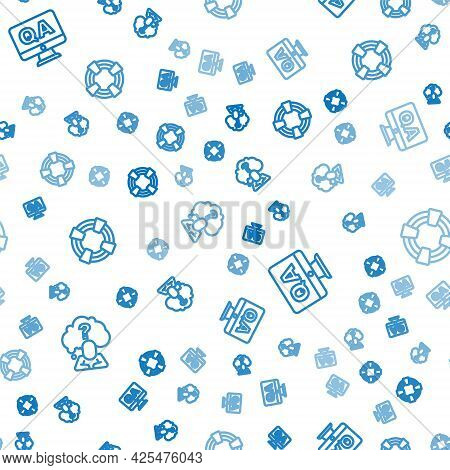 Set Line Head With Question Mark, Question And Answer And Lifebuoy On Seamless Pattern. Vector