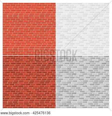Vector Illustration Set Of Different Color Bricks. Bricks Texture, Vintage Retro Style Seamless Patt