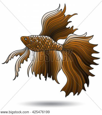 Illustration With Stained Glass Elements, Brown Cockerel Fish Isolated On White Background
