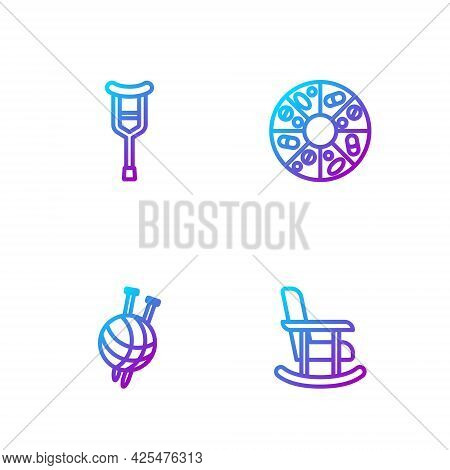 Set Line Rocking Chair, Yarn Ball With Knitting Needles, Crutch Or Crutches And Vitamin Pill. Gradie
