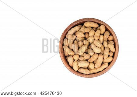 Peanut In A Shell Texture. Food Background Of Peanuts