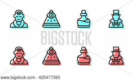 Set Line Bottle With Potion, Wizard Warlock, Masons And Magician Icon. Vector