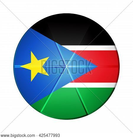 Glass Light Ball With Flag Of South Sudan. Round Sphere, Template Icon. Sudanese National Symbol. Gl
