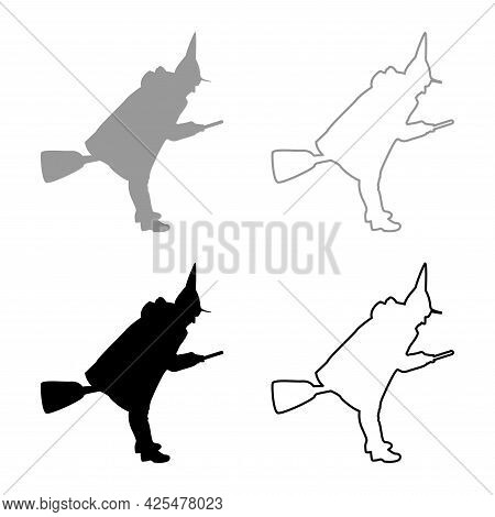Fairy Wizard Witch Flying On Broom Subject For Halloween Concept Silhouette Grey Black Color Vector
