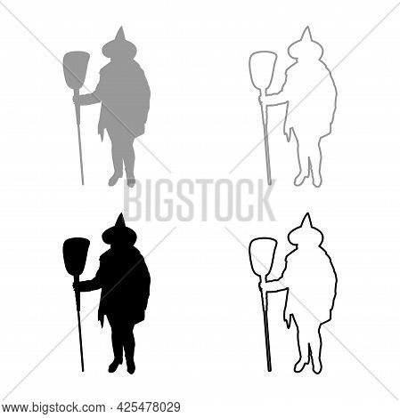 Fairy Wizard Witch Holding Broom Subject For Halloween Concept Silhouette Grey Black Color Vector Il