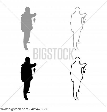 Man Hold Face Medical Mask In Hand Arm Wearing Personal Dust Protective Equipment Concept Virus Coro