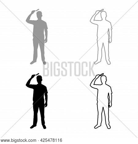 Man Is Combing Hair Use Hairbrush Front View Silhouette Grey Black Color Vector Illustration Solid O