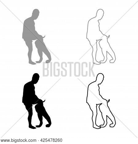 Man Dressing Pant Clothes Concept Put On His Trousers Silhouette Grey Black Color Vector Illustratio