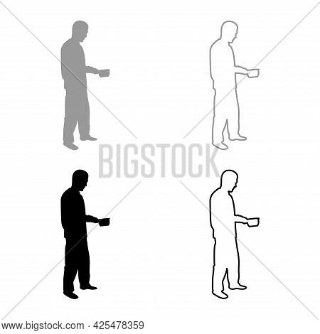 Man With Saucepan In His Hands Preparing Food Male Cooking Use Sauciers Silhouette Grey Black Color