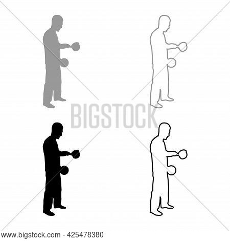 Man With Saucepan In His Hands Preparing Food Male Cooking Use Sauciers With Open Lid Silhouette Gre