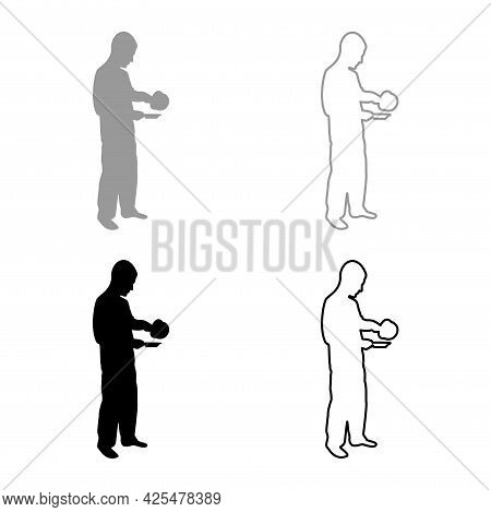 Man With Saucepan In His Hands Preparing Food Male Cooking Use Sauciers Water Poured In Plate Silhou