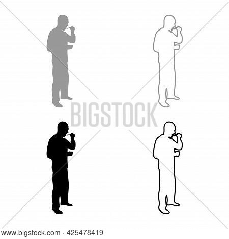 Man Trying Food From Spoon Standing Tasting Concept Gourmet Tries Dish Chef Trying Silhouette Grey B